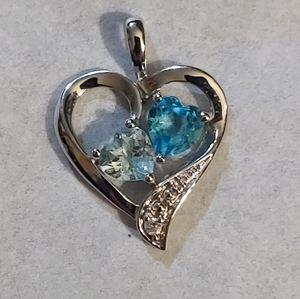 Heart Shaped Sterling Silver Pendant w/Stones